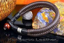 CUSTOM MADE Sterling Silver, Kangaroo Leather, Tiger's Eye Men Bracelet 5B-075