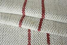 Vintage Hemp homespun table runner length 5.6 yards ~ red stripe rustic fabric