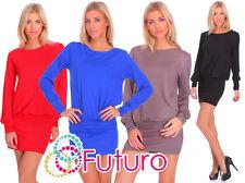 Womens Elegant Mini Dress Long Sleeve Crew Neck Tunic Bodycon Top Size 8-18 8998