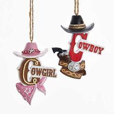 Cowboy & Cowgirl w/Hat Ornaments