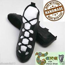 * Venta * Zapatos de baile irlandés Gillie Pomps Suave Cojín De Gamuza Negra bombas Suela Tara