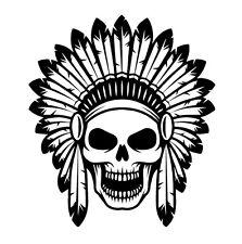 Indian Chief Skull Sticker Vinyl Decal american native southwest bumper laptop