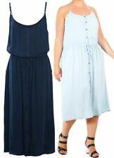 Womens Dress Draw Waist Summer Dresses Indigo Blue Plus Size 16 18 20 22