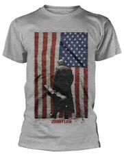 Johnny Cash T Shirt Drapeau Américain Officiel Gris Homme T-Shirt Rétro Classique Rock