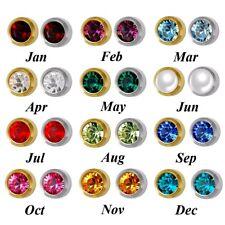 Small Birthstone Stud Earrings Round Crystal Birthday Gem Silver 24k Gold Plated