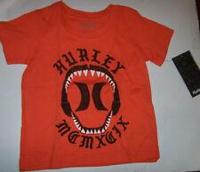 New Hurley short sleeve tee T shirt boys black orange size 2T 4T Shark jaw teeth