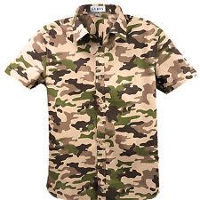 Herren Camouflage Hemd Hemden Shirt Oberhemd Hemd Kurzarm Hit New
