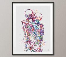 Skeleton Kiss, Kissing, Anatomy, Love Wall Decor, Gift idea, Skull Art, Skull