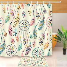 """Beads Feather Dream Catcher Shower Curtain Set Bathroom Mat Waterpoof Fabric 72"""""""