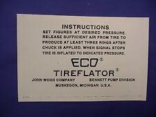 ECO 97 98 Air Meter Tireflator Instruction Stick on Label