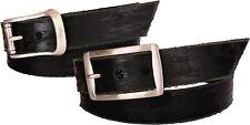 Cintura in cuoio abrasivata a mano - nero - 35 mm