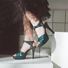 Women's Peep Toe Ankle Strap Platform Stilettos High Heels Dress Party Shoes New