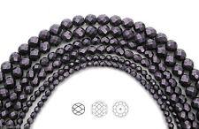 Czech Glass Fire Polished Beads in Purple Carmen Metallic Pearl, Faceted Pearls