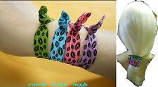 knot tug pink blue  Elastic bracelet PONY TAIL HOLDERS Scrunchies hair ties band