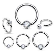 2pc. 20G 18G 16G 14G Surgical Steel CZ Captive Bead Ring Earrings Septum Labret