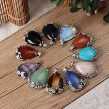 Drop Gemstone Amethyst Agate Necklaces Pendants Natural Quartz Opal Turquoise