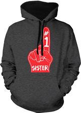 #1 Sister Number One Red Foam Finger Best Greatest My Two Tone Hoodie Sweatshirt