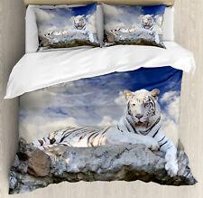 Tiger Duvet Cover Set with Pillow Shams Bengal Feline Hunting Print