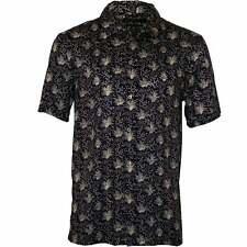 French Connection Palm Print Lyocell Short-Sleeve Men's Shirt, Indigo