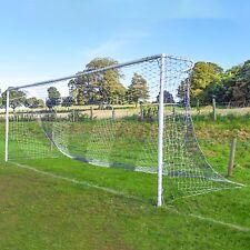 Blue & Yellow Striped Full Size Football Goal Nets - [Net World Sports]