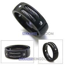 ACCENTS KINGDOM 8MM MEN'S GUN METAL BLACK TITANIUM MAGNETIC CABLE RING Size 8-12