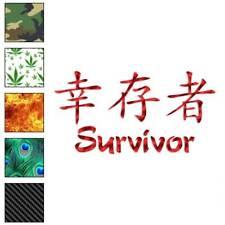 Survivor Chinese Symbols Decal Sticker Choose Pattern + Size #2694