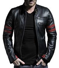 Noir Cuir Moto Veste en cuir Biker cuir de vachette Jacket HOMMES Racing FR