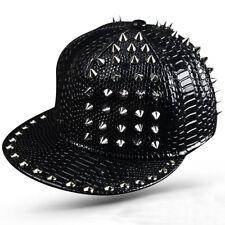 Men Unisex Metal Rivet Soft Leather Baseball Snapback Cap Punk Rock Hiphop Hat