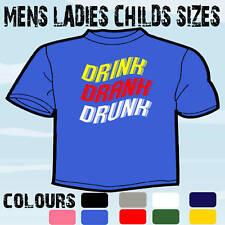 DRINK DRANK DRUNK FUNNY MENS SLOGAN JOKE T-SHIRT