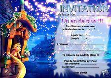 5 ou 12 cartes invitation anniversaire RAIPONCE  REF 20 avec/sans envel