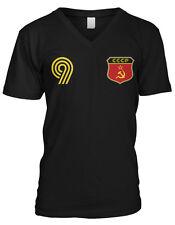 CCCP Flag Crest Ruskie National Soccer Football Pride Mens V-neck T-shirt