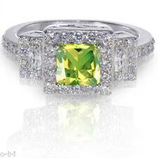 Princess Cut Peridot Simulated Diamond Genuine Sterling Silver Engagement Ring
