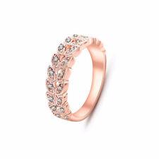 Women Rose Gold Zircon Crystal Promise Wedding Rings + Gift Bag + Velvet Pouch