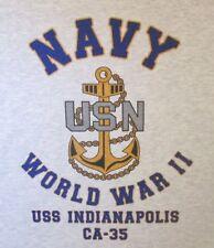 USS INDIANAPOLIS  CA-35* WORLD WAR II* CARRIER U.S NAVY W/ ANCHOR* SHIRT