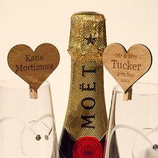 Singolarmente personalizzato 4cm CUORE IN LEGNO IROKO Luogo Nomi per Ospiti Matrimonio