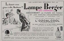 PUBLICITE LAMPE BERGER BRULE PARFUM BRULEUR OZOALCOOL DE 1930 FRENCH ADVERT AD