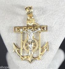 Jesus Anchor Pendant Chain 14k Gold Ancla Medalla Oro Religious Crioss Charm