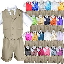 Baby Boy Toddler Formal Vest Shorts Khaki 6 Piece Set Suit Necktie 23 Color S-4T