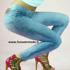 Leggings donna Bugie effetto jeans in microfibra stampata con rotture art BU5032