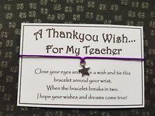 Teacher * Thank You Wish * Bracelet * Friendship * Gift * Favour *