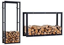 Porte bûches mural KERI V3 rangement bois chauffage noir brossé cheminée poele