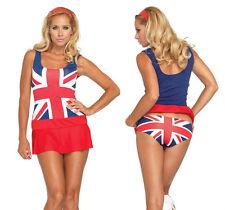 Retro Cheeky Brit British Flag Costume, Leg Avenue 83769, 3 Piece Size XS to M/L