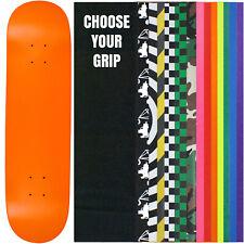 "Skateboard Deck Pro 7-Ply Canadian Maple NEON ORANGE With Griptape 7.5"" - 8.5"""
