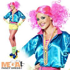 80s Neon Roller Skater Girl + Wig Ladies Fancy Dress 1980s Disco Womens Costume