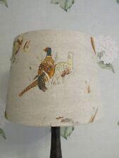 Handmade Tapered Drum lampshade Pheasant Game Bird Linen Fabric 20cm, 25cm, 30cm