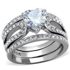2041 bandas de diamantes simulados Anillo 3PCS Conjunto De Boda De Corazón Acero Inoxidable para Mujer