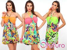 High Quality Summer Dress Sleeveless Mini Tunic Halterneck Sizes 8 - 10 FC121
