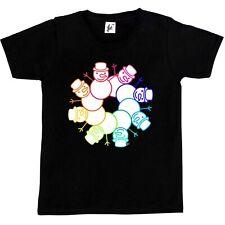 Sonriente feliz Navidad Muñeco de nieve Anillo Corona Niños Niñas T-Shirt