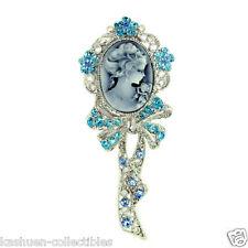 HUGE Blue w Swarovski Crystal Victorian Style ~CAMEO~ Queen Fairy Pendant Brooch