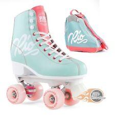 Rio Roller Script Quad Roller Skates Teal/Coral - Optional Skate Bag